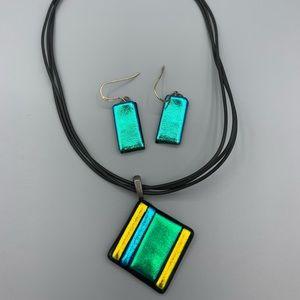 Jewelry - Metallic Glass Necklace & Earrings Set